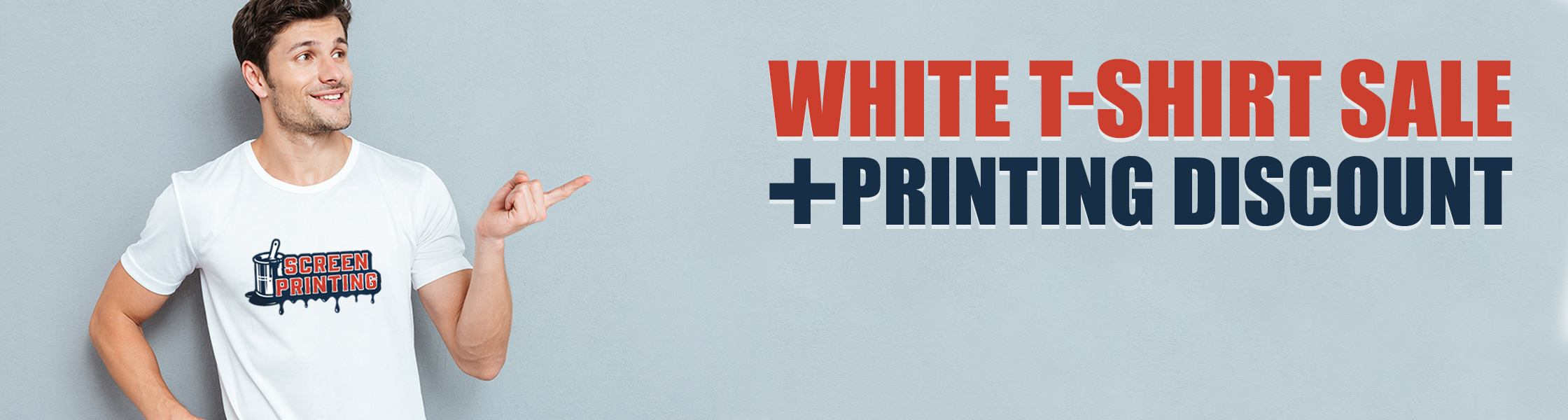 White T-shirts sale with printing discount coupon
